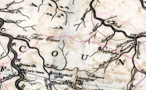 Map of part of the Bluegrass near Lexington in 1784
