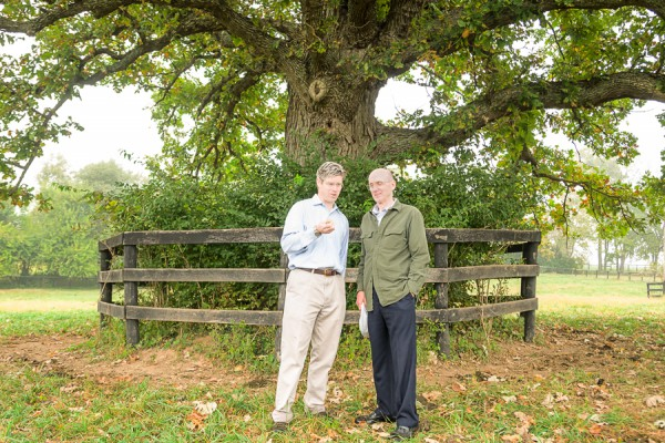 Picture of two men with a tree