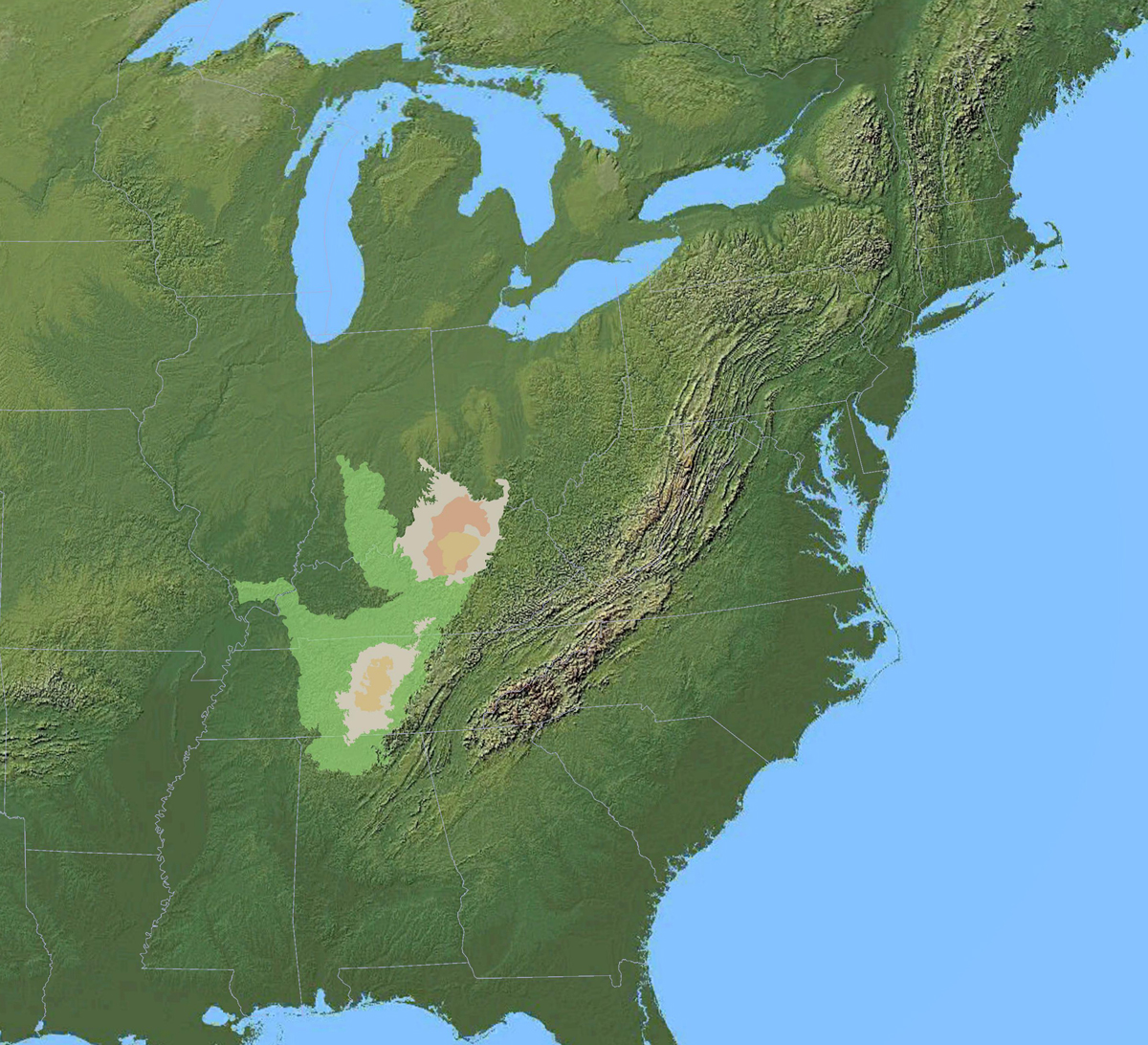 map of the Bluegrass and Nashville Basin