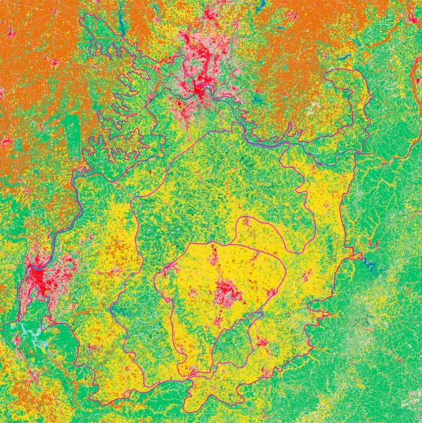 Bluegrass land use. Yellow=pasture, green=forest, brown=crops, red or pink=urban