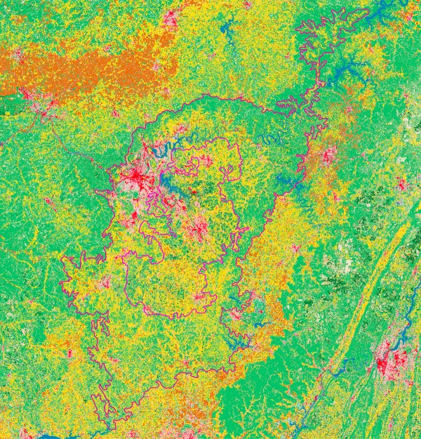 Nashville Basin land use. Yellow=pasture, green=forest, brown=crops, red or pink=urban